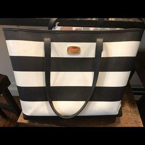 Michael Kors Jet Set tote bag black & white stripe